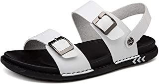 2019 Mens Sandals Walking Sandals Mens Leather Casual Sandals for Men Slipper Shoes Slip On Style Microfiber Leather Fashion Buckle Solid Color Dual Purpose