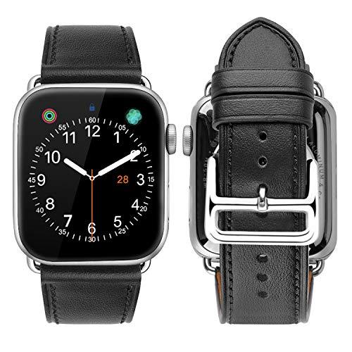 iBazal Correa Compatible con iWatch Series 6 SE 5 4 Correa 40mm Cuero 38mm Piel Series 3 2 1 Pulseras Bandas reemplazo para Apple Watch Hombres Mujer Reloj - Negro Estilo/Hebilla Plata 38/40