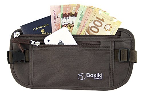 Cinturón-monedero con bloqueo RFID(Por sus siglas en inglés (Sistema de protección de lectura por radiofrecuencia))|CangureraCangurera Segura para Hombres y Mujeres de Boxiki Travel. Caben el Pasap