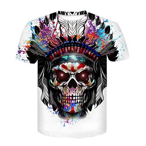 Herren Sommer T-Shirt Schädel 3D Spaß Männer und Frauen Freizeitmode hochwertige T-Shirt