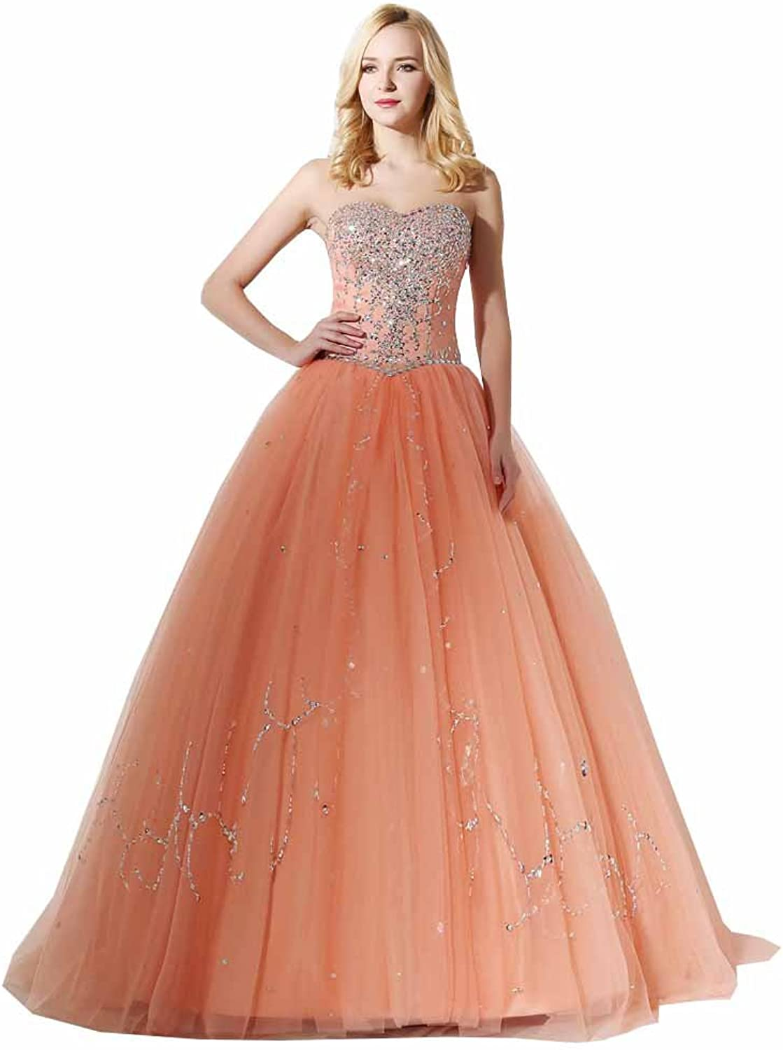 Engerla Women's Sequined Long ALine Tulle Sweetheart Long Prom Ball Gown