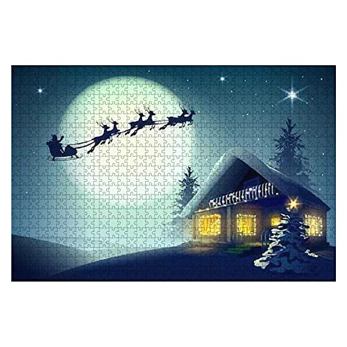 1000 Piece Silhouette Santa Claus and Reindeer Flying Over Christmas House in Large Piece Jigsaw Puzzles for Adults Educational Toy for Kids Creative Games Entertainment Wooden Puzzles Home Decor