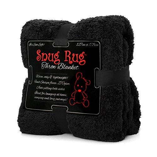 Snug Rug Véritable Tapis Douillet Couverture de Luxe à Chaud à Jet Polaire Sherpa (Noir)