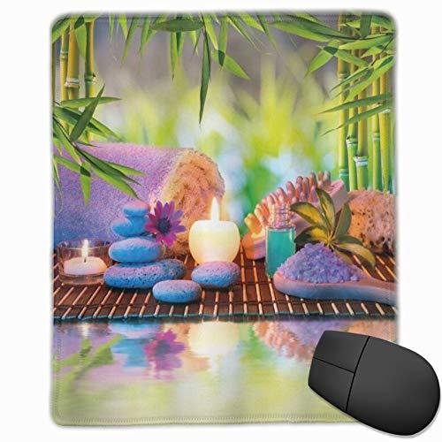 ALLMILL Alfombrilla Raton SPA Piedras con Velas Antiguo Yoga Oriental Relajación Meditación Chakra Bambúes Imprimir Multicolor Alfombrilla Gaming Alfombrilla para computadora con Base de Goma