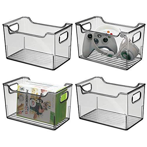 mDesign Juego de 4 cajas organizadoras de plástico – Caja con asas multiusos – Versátil organizador de cocina, baño,...