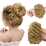 HMD 100% Human Hair Bun, Messy Bun Hair Piece 100% Human Hair Bun Extension Scrunchie Chignon Ponytail Extensions for Women/Kids Updo Donut Hairpiece
