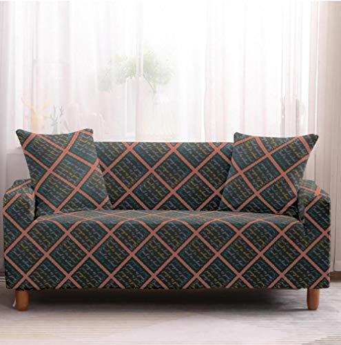 Funda de sofá de 1 Plazas Funda Elástica para Sofá Poliéster Suave Sofá Funda sofá Antideslizante Protector Cubierta de Muebles Elástica Rejilla Gris Funda de sofá