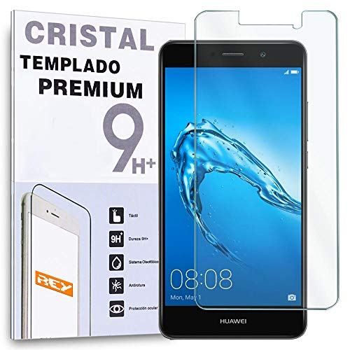 REY Protector de Pantalla para Huawei Y7 2017 / Huawei Y7 Prime, Cristal Vidrio Templado Premium