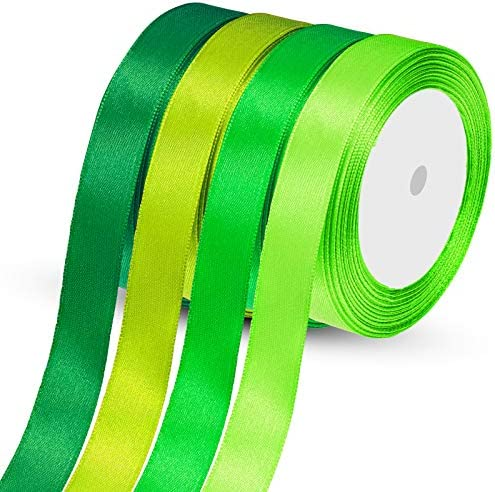 4 Rolls Green Ribbon Satin Silk St Patrick s Day Ribbon Solid Color Fabric Ribbon Rolls for product image