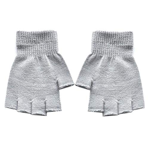 MJuan-Clothing Cycling Equipment1 Pair Unisex Winter Warm Stretch Breathable Knitted Soft Half Finger Golves - Light Gray One Size
