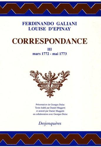 Correspondance, tome 3 : Mars 1772-Mai 1773 (DIX-HUITIEME SIECLE)
