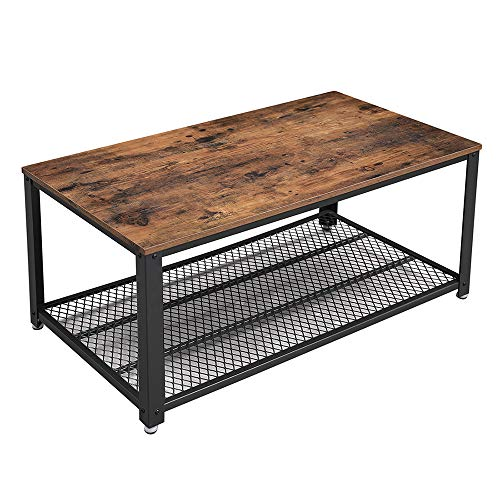 VASAGLE Industrial Coffee Table with Storage Shelf for Living Room, Wood Look Accent Furniture with...