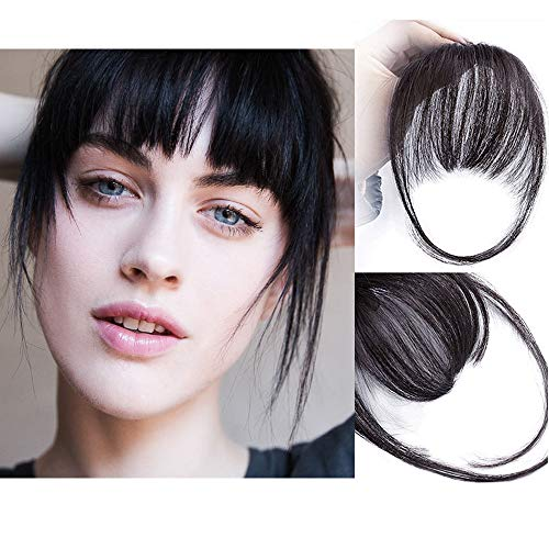 AISI QUEENS Clip in Bangs Hair Extensions Human Hair Air Bangs/Fringe Hairpiece Black Color with Temple Hand Made Tied Bangs for Women.