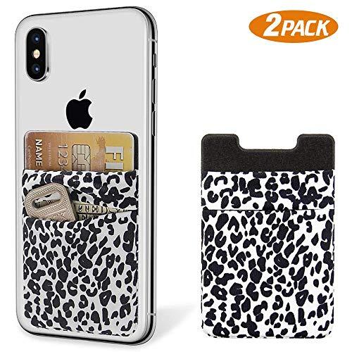 takyu Handy Kartenhalter, 2er Klebende Karten Etui 2 Fächer Kompatibel mit Smartphones iPhone Universal (Leopard Weiss)