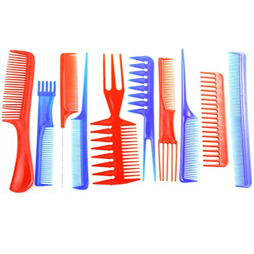 Magic 10 Piece Hair Stylists Professional Styling Comb Set Tail Teasing Waves Comb Set Anti-static Hair Combs Variety Pack Great for All Hair Types & Styles for Women Men (red and blue)
