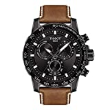Tissot Men's Stainless Steel Swiss Quartz Watch with Leather Strap, Brown (Model: T1256173605101)