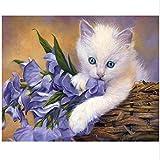 YMX DIY Family Malen Durch Die Zahlen, Malen Nach Zahlen Lackierungen Für Freund Erwachsene Kinder Senioren Junior Purpurrote Blume Der Weißen Katze Nett No Frame