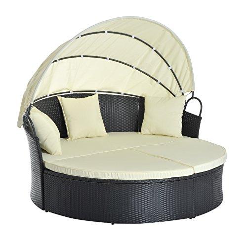 Outsunny Lit canapé de Jardin modulable Grand Confort Pare-Soleil Pliable intégré 4 Coussins 3 oreillers 171L x 180l x 155H cm métal résine tressée Polyester Noir Beige