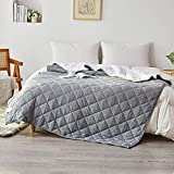 SIGOODS Weighted Blanket Oeko-TEX Certified Fabric with Premium Glass Beads 15lbs for Adults (60'x80', Queen Size), Reversible Heavy Blanket with Organic Knitted Cotton and Warm Sherpa Fleece