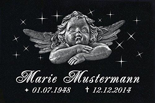 LaserArt24 Granit Grabstein, Grabplatte oder Grabschmuck mit dem Motiv Engel-ag13 und Ihrem Text/Daten