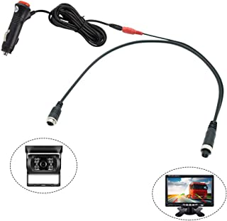 REARMASTER 12V/24V Cigarette Lighter Power Supply Cable for Trucks,  RV,  Trailer,  Bus,  Boat,  Yacht Camera and Monitor with 4PIN Connection