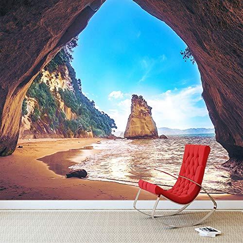 BHXIAOBAOZI behang fotobehang op maat gemaakt fotobehang 3D stereo strand zee eiland grot landschap grote muurschilderingen 3D woonkamer achtergrond decoratie landschap muurschildering (Bh0176) 480cm(W)×290cm(H)