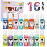 Colorante Resina Epoxi - 16 colores de brillo líquido Tinte de pigmento de perlas Cada botella 0.35 oz / 10 ml, colorante de resina líquida de color brillante para joyería de resina DIY Craft