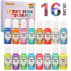 Colorante Resina Epoxi – 16 colores de brillo líquido Tinte de pigmento de perlas Cada botella 0.35 oz / 10 ml, colorante de resina líquida de color brillante para joyería de resina DIY Craft