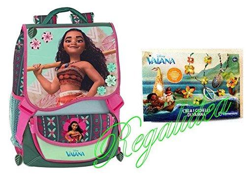 Disney Rucksack für die Schule, ausziehbar, Schulterriemen Vaiana 2017/2018, für Mädchen und Mädchen + Schmuckspiel