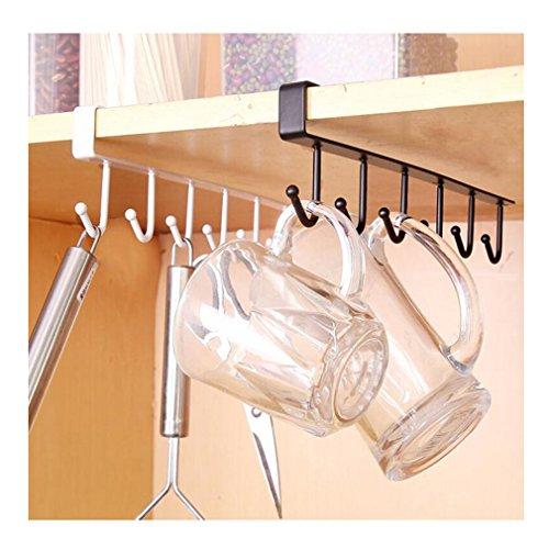 1 soporte de tazas de Albeey para colocar debajo de una estantería o armario, metal, Negro , 25.5cm