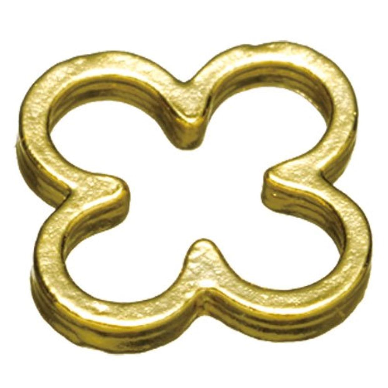 感謝している優遇推進プリティーネイル ネイルアートパーツ プレーンフラワーL ゴールド  10個