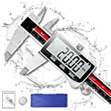 Digital Caliper, Qfun 6 Inch Digital Micrometer Extreme Accuracy IP54 Waterproof Electronic Vernier Caliper Stainless Steel Digital Measuring Tool with Extra Large LCD Screen, Inch/Metric Conversion