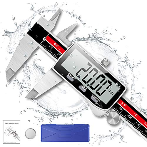 Digital Caliper, Qfun 6 Inch Caliper Measuring Tool Extreme Accuracy IP54 Waterproof Digital Micrometer Stainless Steel Electronic Vernier Caliper with Extra Large LCD Screen, Inch/Metric Conversion