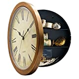 Yardwe Wall Clock with Hidden Safe Clock Diversion Safe Jewelry Money Safe (Bronze)
