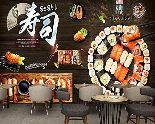 XLXBH 3D muurschildering zelf-hechtend behang Japanse sushi restaurant eetkamer muur Japanse sushi restaurant 3D fotobehang goedkoop wandschilderij, kinderkamer kantoor eetkamer woonkamer decoratieve muur 250x175 cm (BxH) 5 Streifen - selbstklebend