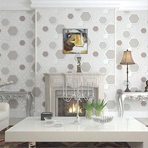 YLCJ behang hoogwaardig PVC modern eenvoudig 3D gepersonaliseerd behang decoratie woonkamer restaurant TV muur slaapkamer koffie huiskleding behang 0,53 m * 10 m - kleur/rijst bruin/meter g