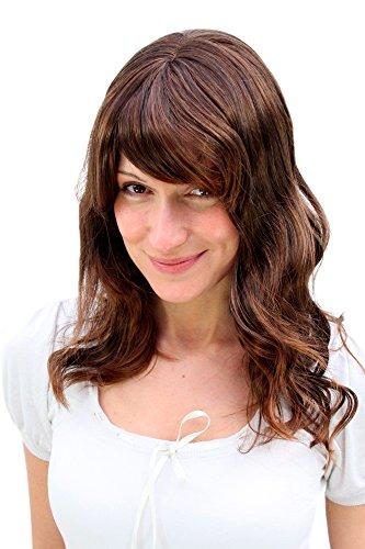 WIG ME UP ® - 5019-2T30 Perücke gewellt & gesträhnter Brünett Mix halblange Haare