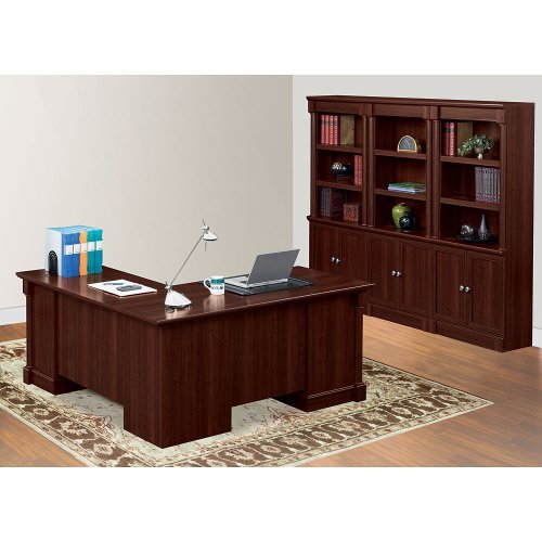 Sauder Office Furniture Palladia Collection Cherry Finish L-Shaped Desk with Bookcase Set