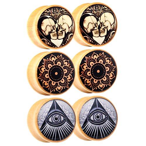 Awinrel Wood Saddle Ear Gauge Plugs Flesh Tunnel Stretcher Piercing Eyelet Mandala Skull Illuminati All Seeing Eye 3 Pairs 1 inch 25mm