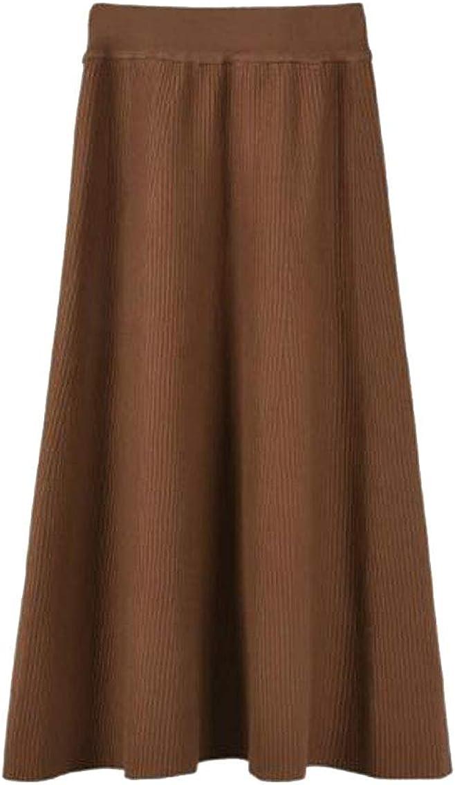 Elastic Flared High Waist Long Skirt for Girl Women Casual Skirt