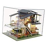 Sharplace Luz LED DIY casa de muñecas Miniatura de Madera Monet jardín cabaña Kits de construcción con Kit de Muebles Juguete Regalo romántico-Estilo francés