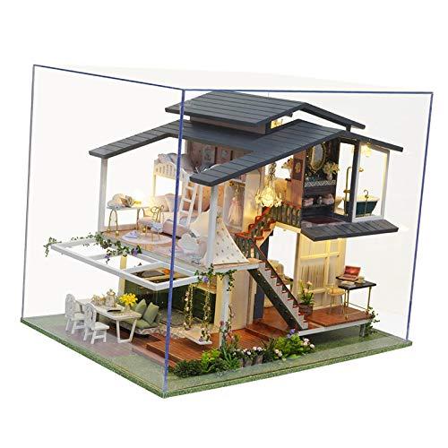 F Fityle Luz LED DIY Miniatura casa de muñecas Creativo Monet jardín Muebles Kits fantasía Juguete para niños Adultos Regalo de cumpleaños para niñas