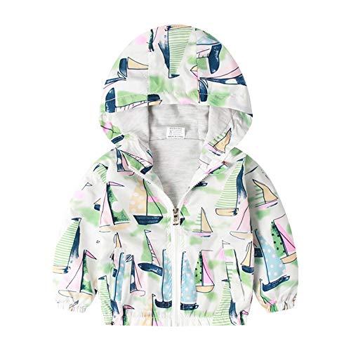 Kinder Baby Kapuzenjacke Mädchen Junge Windjacke mit Kapuze Cartoon Druck Jacke Trenchcoat Outdoorjacke Hooded Mantel, Mint Grün, 1-2 Jahre