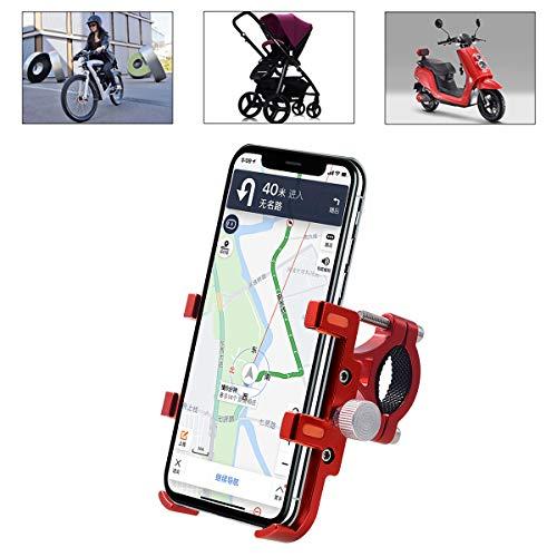 SANON Bicycle Motorcycle Phone Mount Aluminum Alloy Bicycle Motorcycle Handlebar Phone Mount for iPhone Samsung Galaxy GPS Phone Holder Bracket Red