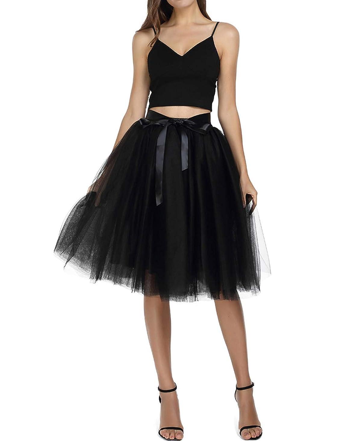 Minyue Women's Tulle Skirt A Line Midi/Knee Length Tutu 6 Layered Pleated Dance Skirt