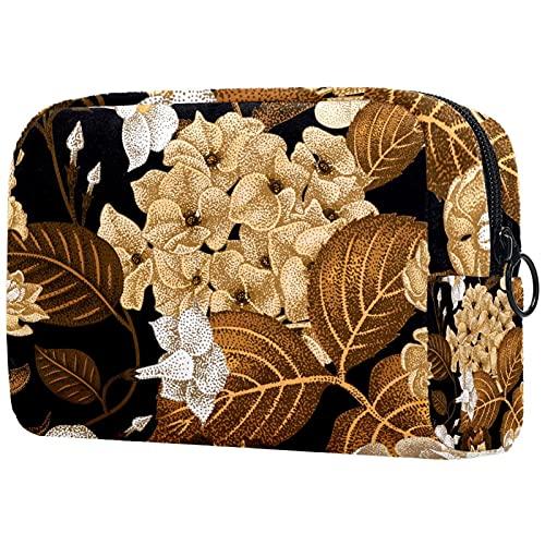 Sacs cosmétiques pour Femmes, Sacs de Maquillage Voyage Sac de Toilette Accessoires Organisateur - Fleur Japonaise Hydrangea Blanc