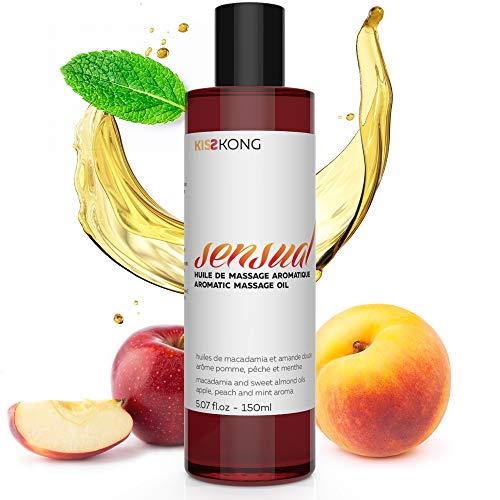 Aceite de masaje 100% natural perfumado - 150 ml - OQTAV - a base de aceite de almendras dulces, aceite de nuez de macadamia - mezcla de aroma de durazno y menta - relajante, nutritivo