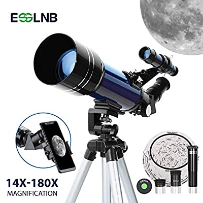 ESSLNB Telescopes for Adults Astronomy Beginners Kids 80mm Telescope Refractor Telescope with Adjustable Tripod 10X Phone Mount and Case Erect-Image Diagonal Prism Moon Filter