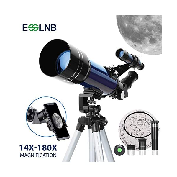 ESSLNB Telescope 70mm Telescope for Kids Beginners and Adults with Adjustable Tripod Phone Adapter 3X Barlow Lens Carrying Case and Moon Filter