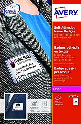 Avery L4787-20 Badge Adesivi con Cornice Blu, Stampanti Laser20 Fogli, 80 x 50, Bianco